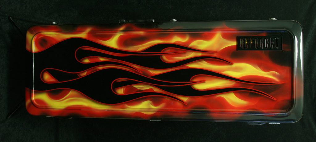 Reforged Guitars custom made hot rod flames Gator hard shell case